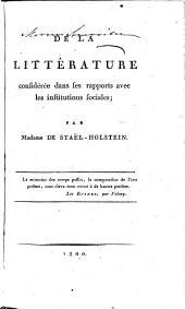De la littérature, considérée dans ses rapports avec les institutions sociales ;