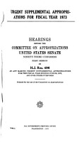Urgent Supplemental Appropriations for Fiscal Year 1973  Hearings Before     93 1 on H J  Res PDF