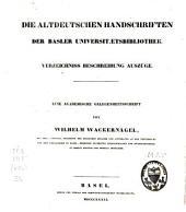DIE ALTDEUTSCHRIFTEN DER BASLER UNIVERSIT AT S BIBLIOTHER