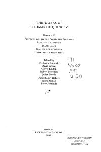 The Works of Thomas De Quincey  Prefaces  c  to the collected editions  published addenda  marginalia  manuscript addenda  undatable manuscripts PDF
