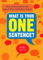 What Is Your One Sentence  PDF