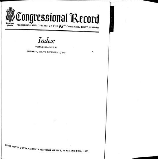 Congressional Record Index PDF