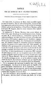 Notice sur le tombeau de T. Flavius Maximus, préfet de la légion III Auguste