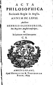 Acta philosophica Societatis Regiae in Anglia, anni 1666-'69: Volume 3