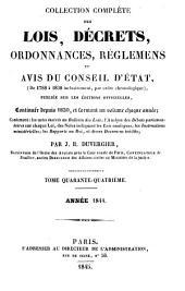 Collection complète des lois, décrets d'intérêe général, traités internationaux, arrêtés, circulaires, instructions, etc: Volume44