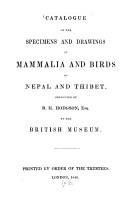 Catalogue of the Specimens and Drawings of Mammalia and Birds of Nepal and Thibet PDF