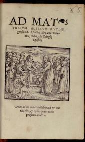 Ad Matthaeum Alberum Rutlingensium Ecclesiasten, de Caena Dominica, Huldrychi Zuinglii Epistola