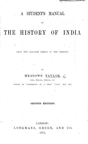 A Student s Manual of the History of India from the Earliest Period to the Present