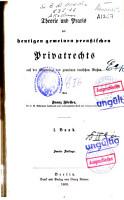 Theorie und Praxis des heutigen gemeinen preukischen Privaterechts auf der Grundlage des gemeinen deutschen Rechts PDF