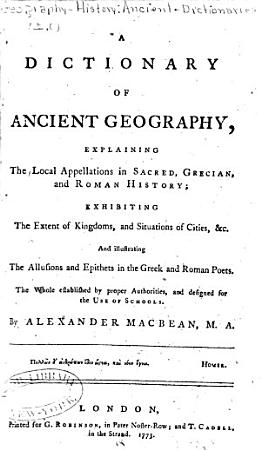 A Dictionary of Ancient Geography PDF