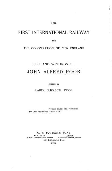 The First International Railway and the Colonization of New England PDF