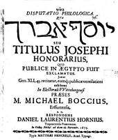 Titulus Josephi honorarius, quo publice in Aegypto fuit exclamatus