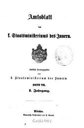 Amtsblatt des Königlichen Staatsministeriums des Innern: Band 1