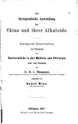 Die therapeutische Anwendung der China und ihrer Alkaloide PDF