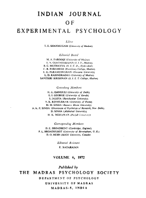 Indian Journal of Experimental Psychology PDF