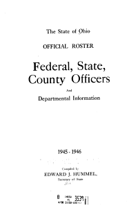 Official Roster: Federal, State, County, and Departmental Information ...