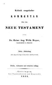 Kritisch exegetischer Kommentar uber das Neue Testament: Band 3