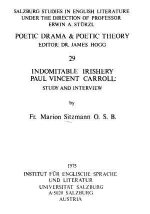 Indomitable Irishery Paul Vincent Carroll