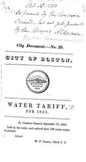 Water Tariff for 1851