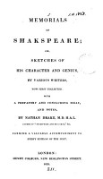 Memorials of Shakespeare  or  Sketches of his character and genius  by various writers  collected  with a prefatory and concluding essay  and notes  by N  Drake PDF