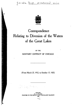 Correspondence Relating to Diversion of the Waters of the Great Lakes by the Sanitary District of Chicago PDF