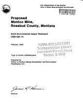 Montco Mine, Proposed, Rosebud County: Environmental Impact Statement