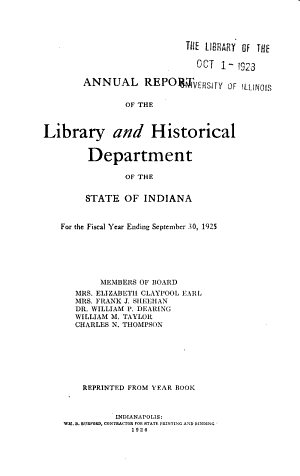 Annual Report of the Library and Historical Department of the State of Indiana