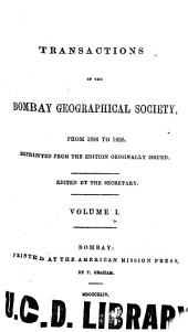 The Transactions of the Bombay Geographical Society: Volume 1