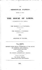 Reports from Select Committees of the House of Commons, and Evidence, Communicated to the Lords