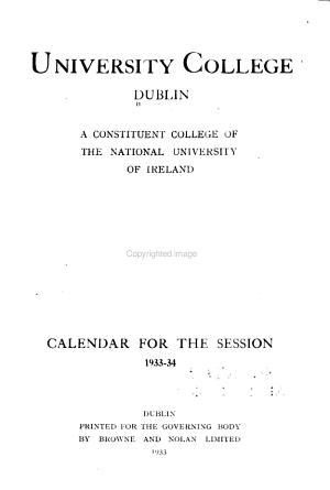 Calendar for the Session
