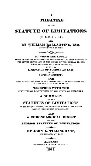 A Treatise on the Statute of Limitations