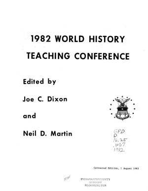 1982 World History Teaching Conference