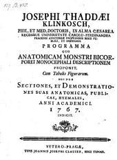 Programma quo anatomicam monstri bicorporei monocephali descriptionem proponit