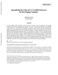 Quantifying The Value Of U S Tariff Preferences For Developing Countries Book PDF