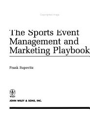 The Sports Event Management And Marketing Playbook Book PDF
