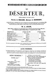 Le deserteur, opera-comique en 3 actes, Paroles de --- musique de Monsigny