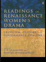 Readings in Renaissance Women s Drama PDF