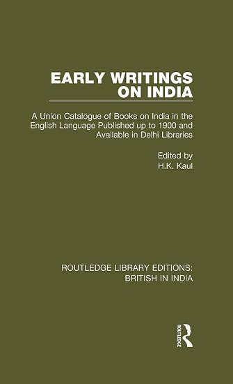 Early Writings on India PDF