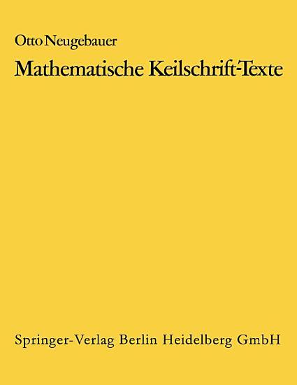 Mathematische Keilschrift Texte Mathematical Cuneiform Texts PDF