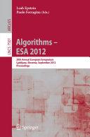 Algorithms –- ESA 2012
