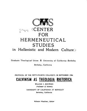 Calvinism as Theologia Rhetorica