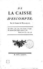 DE LA CAISSE D'ESCOMPTE