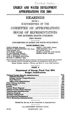 Energy and Water Development Appropriations for 2004