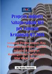 Industri Property Saham-saham BEI per Laporan Keuangan Q3 2016: Lengkap Profile emiten, Key Financials dan Ratio, Analisa industry & Laporan Keuangan dan Perhitungan Nilai Wajar Saham