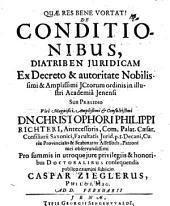 De conditionibus: diatriba iuridica