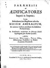 PARAENESIS ad AEDIFICATORES Imperii in Imperio
