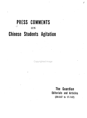 Press Comments on Chinese Students Agitation PDF