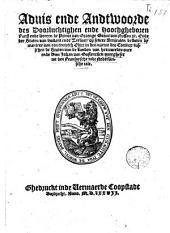 Aduis ende Andtwoorde des [...] Prince van Oraenge [...] Ende der Staten van Hollant ende Zeelant, op sekere Artijculen besloten by maniere van een eeuwich Edict, [...] Ouvergheset wt den Fransoysche inde Nederlandsche tale