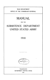 Manual for the Subsistence Dept., United States Army