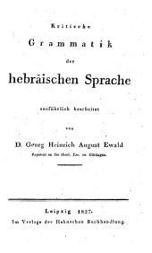 Kritische Grammatik Der Hebräischen Sprache